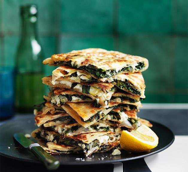 Feta and greens gözleme recipe