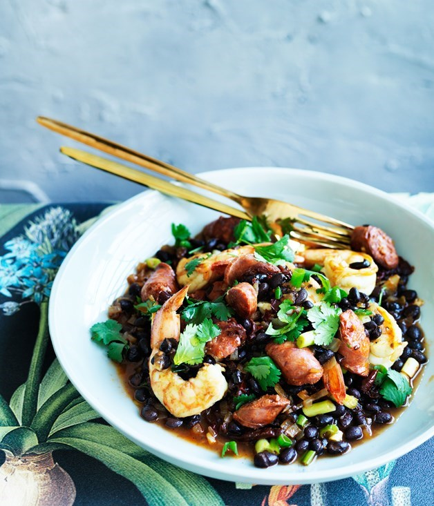 "[**Prawns with black beans chorizo and chipotle**](https://www.gourmettraveller.com.au/recipes/fast-recipes/prawns-with-black-beans-chorizo-and-chipotle-13733|target=""_blank"")"