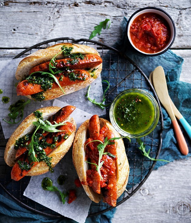 **Chorizo hotdogs with chimichurri and smoky red relish**