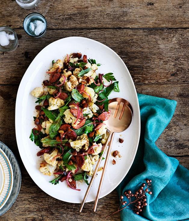 "[**Chorizo roasted cauliflower and almond salad**](https://www.gourmettraveller.com.au/recipes/fast-recipes/chorizo-roasted-cauliflower-and-almond-salad-13662|target=""_blank"")"