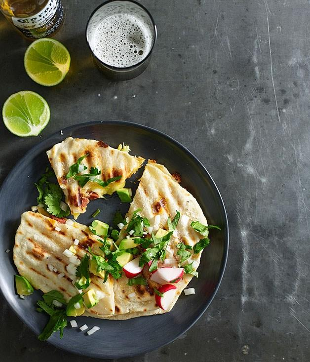 "[**Quesadillas with cheese and chorizo**](https://www.gourmettraveller.com.au/recipes/fast-recipes/quesadillas-with-cheese-and-chorizo-13412|target=""_blank"")"