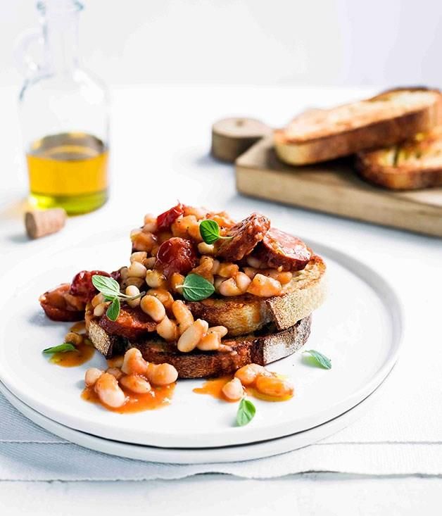 "[**Beans and chorizo on toast**](https://www.gourmettraveller.com.au/recipes/fast-recipes/beans-and-chorizo-on-toast-13319|target=""_blank"")"