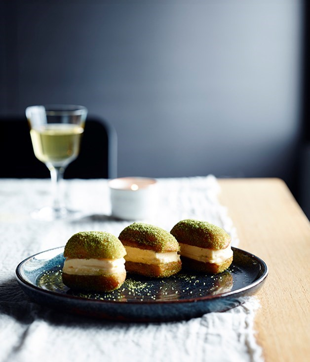**Honey and ginger ice-cream and lemon curd doughnut sandwiches**