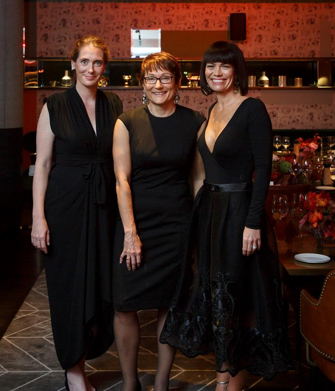 **Gourmet Traveller Australian Hotel Guide Awards** _Gourmet Traveller_ editor Sarah Oakes; Bauer Media general manager homes and food, Cornelia Schulze; Jackalope Hotels group general manager Tracy Atherton.  Photograph by Marcel Aucar