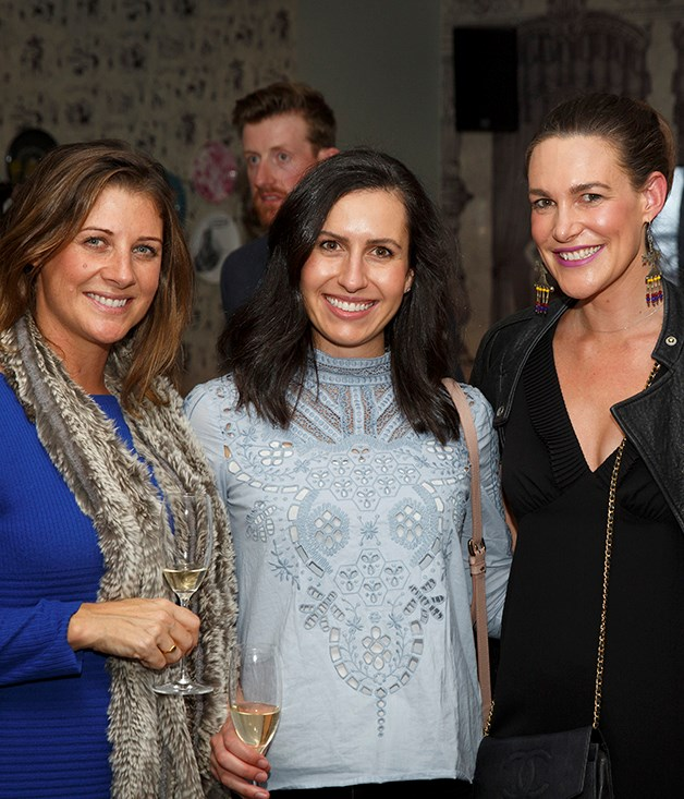 **Guests arrive** Genna Nibaldi and Deanna Christian of Carlton & United Breweries; Bauer Media key account director Kate Steven.  Photograph by Marcel Aucar.