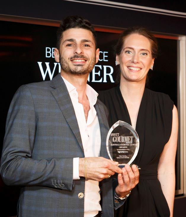 **Best Service Award** The award for Best Service went to Halcyon House for the second year, thanks in large part to general manager Mauro De Riso, pictured here with _Gourmet Traveller_ editor Sarah Oakes.  Photograph by Marcel Aucar.