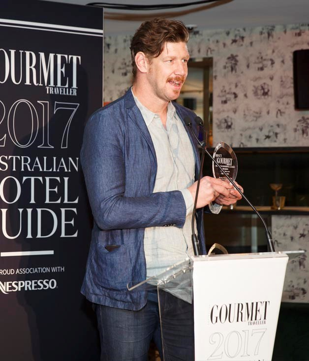 **Boutique Hotel of the Year** Timo Bures, general manager, The Old Clare Hotel accepts the award for Boutique Hotel of the Year 2017.  Photograph by Marcel Aucar.