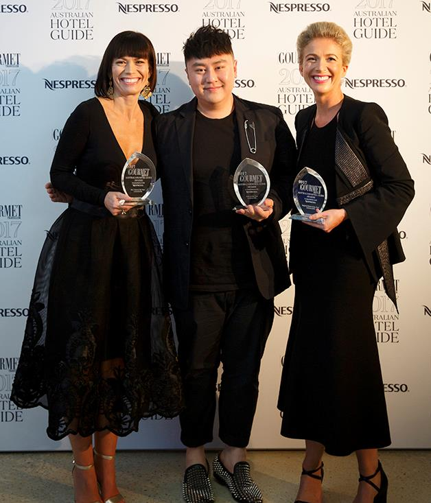 **And the winner is** Mornington Peninsula newcomer Jackalope won a trifecta of awards: Regional Hotel of the Year, New Hotel of the Year and the coveted Hotel of the Year.  Jackalope Hotels group general manager Tracy Atherton; Jackalope owner Louis Li; Jackalope Group general manager Emily Makiv.  Photograph by Marcel Aucar.