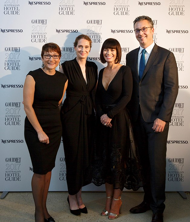 **On the stage** Bauer Media general manager homes and food, Cornelia Schulze; _Gourmet Traveller_ editor Sarah Oakes; Jackalope Hotels group general manager Tracy Atherton; Loic Réthoré, General Manager, Nespresso Australia and Oceania.  Photograph by Marcel Aucar.