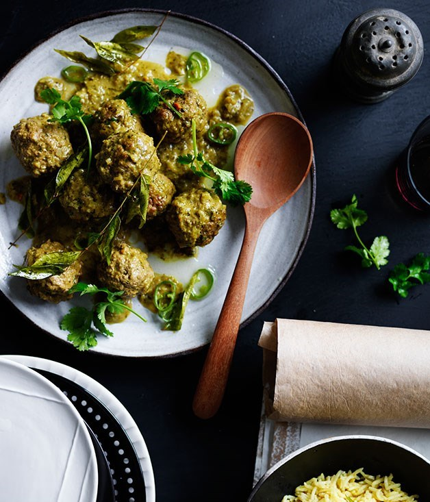 "[**Lamb curry kofte with ginger pilaf and curry leaf oil**](https://www.gourmettraveller.com.au/recipes/browse-all/lamb-curry-kofte-with-ginger-pilaf-and-curry-leaf-oil-12230|target=""_blank"")"