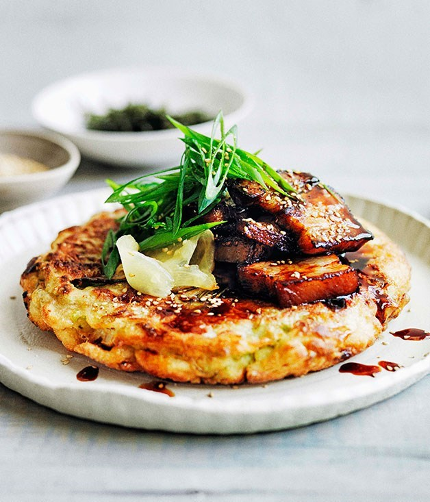 "[**Okonomiyaki with sticky soy pork belly**](https://www.gourmettraveller.com.au/recipes/browse-all/okonomiyaki-with-sticky-soy-pork-belly-11662|target=""_blank"")"