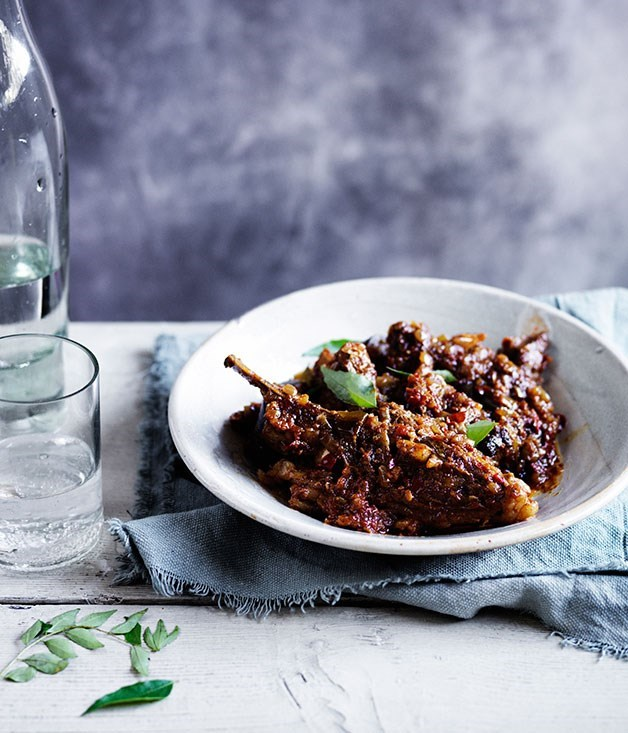 "[**Dry curry of lamb and eggplant**](https://www.gourmettraveller.com.au/recipes/browse-all/dry-curry-of-lamb-and-eggplant-12020|target=""_blank"")"