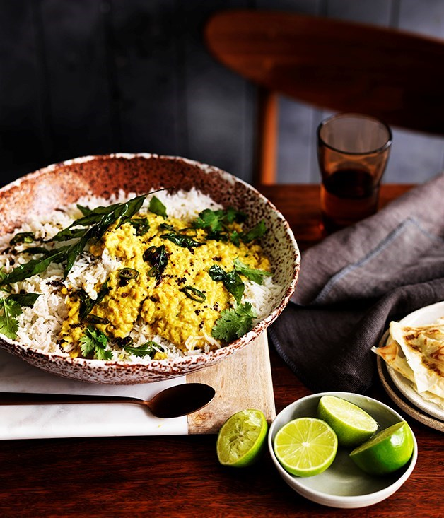 "[**Red lentil dhal**](https://www.gourmettraveller.com.au/recipes/browse-all/red-lentil-dhal-12507|target=""_blank"")"