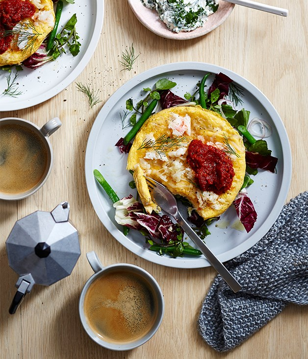 "[Proud Mary Café's crab and potato omelette](http://www.gourmettraveller.com.au/recipes/chefs-recipes/proud-mary-cafes-crab-and-potato-omelette-9316|target=""_blank"")"