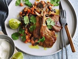 Spiced lamb chops with silverbeet, chickpeas and yoghurt recipe