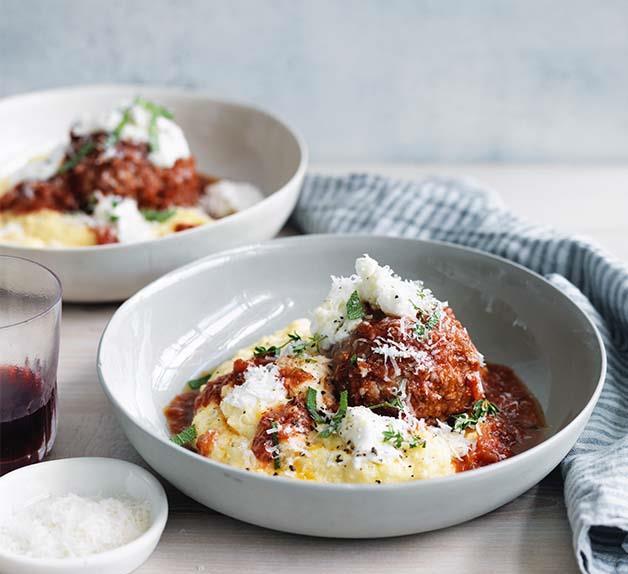 Big pork and prosciutto meatballs with polenta recipe