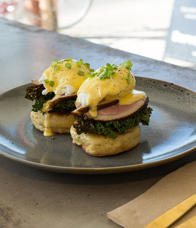 **Duck crumpet** **Sweet Brew & Co Dining Room, Darwin**  This is a fancy bit of crumpet, indeed: slices of smoked, but still-pink duck breast sit on two golden crumpets, capped by a pair of poached eggs wallowing in a sunny hollandaise. It's all very lazy long weekend - and a frill of crisped kale adds a pleasurable hit of bitterness and crunch. _Sweet Brew & Co Dining Room, 45 Stuart Hwy, Darwin, NT, (08) 7978 8638_