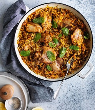 Harissa chicken with carrot, rice and quinoa pilaf recipe