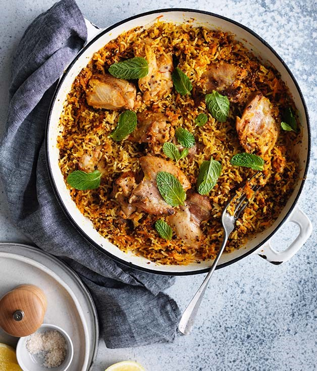 """**[Harissa chicken with carrot, rice and quinoa pilaf](https://www.gourmettraveller.com.au/recipes/fast-recipes/harissa-chicken-with-carrot-rice-and-quinoa-pilaf-13830