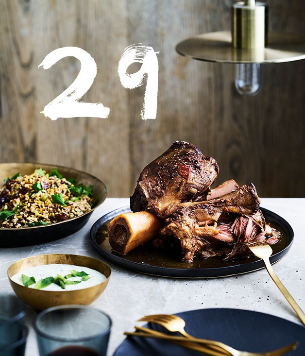 "[**The Henry Austin's braised beef shin with grain salad and yoghurt sauce**](https://www.gourmettraveller.com.au/recipes/chefs-recipes/the-henry-austins-braised-beef-shin-with-grain-salad-and-yoghurt-sauce-9307|target=""_blank"") <br><br> The Henry Austin's hearty braised beef shin is slow cooked until the meat is so tender it's almost falling off the bone. Accompanied by their mixed grain salad and a herby yoghurt sauce, it's a perfectly balanced and comforting meal."