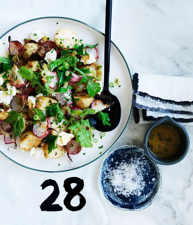 "[**Roast radish and potato salad**](https://www.gourmettraveller.com.au/recipes/fast-recipes/roast-radish-and-potato-salad-13794|target=""_blank"")<br><br> Best served warm, this potato salad gets a boost from the flavourful lemon-butter dressing."