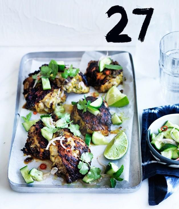 """[**Turmeric chicken with cucumber salad**](https://www.gourmettraveller.com.au/recipes/fast-recipes/turmeric-chicken-with-cucumber-salad-13796