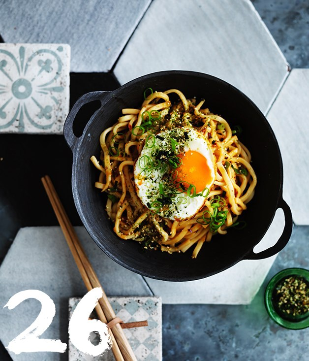 "[**All-day noodles with fried egg and furikake**](https://www.gourmettraveller.com.au/recipes/browse-all/all-day-noodles-with-fried-egg-and-furikake-12704|target=""_blank"")<br><br> Why call this ""all-day noodles""? Because we could eat these savoury strands for breakfast, lunch and dinner, and quite possibly for a snack at any other time. They're quick and satisfying, which pretty much ticks all the boxes for us."