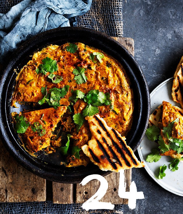 "[**Berber omelette**](https://www.gourmettraveller.com.au/recipes/browse-all/berber-omelette-12726|target=""_blank"")<br><br> This recipe is inspired by a Berber dish GT's managing editor, Pat Nourse, had on tour in the Moroccan Sahara. It's especially lovely cooked in a tagine, in which case the heat on the stovetop should only ever be gentle (a diffuser mat is handy for this) and the cooking times will be slightly longer. It's delicious for brunch, lunch or dinner, and best served warm from the oven."
