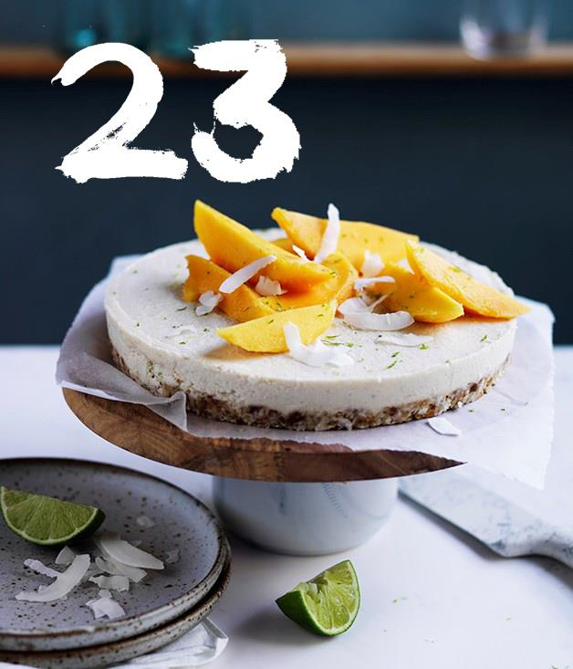 """[**Coconut-macadamia-lime tart with mango**](https://www.gourmettraveller.com.au/recipes/browse-all/coconut-macadamia-lime-tart-with-mango-12722