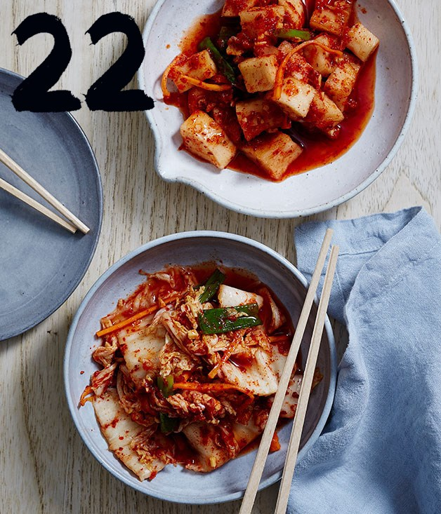 "[**David Chang's kimchi**](https://www.gourmettraveller.com.au/recipes/browse-all/david-changs-kimchi-14241|target=""_blank"")<br><br> Traditionally, this Korean condiment is meant for storage not for immediate consumption however in this recipe, created by the Momofuku chef, speed is at the forefront. Don't let that fool you into thinking this compromises achieving the best, most flavoursome kimchi possible though."