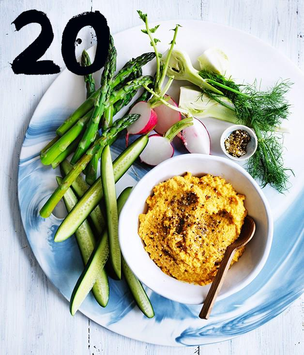 """[**Carrot and almond hummus**](https://www.gourmettraveller.com.au/recipes/fast-recipes/carrot-and-almond-hummus-13788