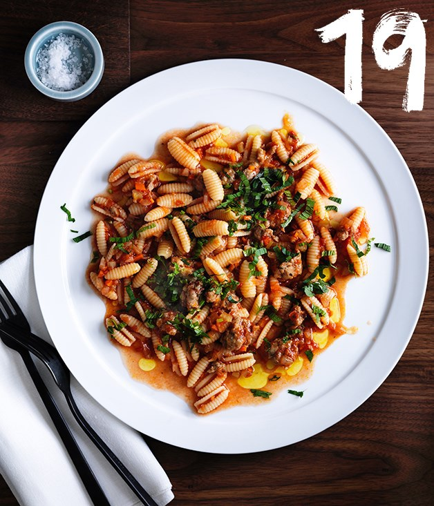 "[**Luca's gnocchetti Sardi with pork and fennel sausage ragù, anchovy and mint**](https://www.gourmettraveller.com.au/recipes/chefs-recipes/lucas-gnocchetti-sardi-with-pork-and-fennel-sausage-ragu-anchovy-and-mint-8568|target=""_blank"") <br><br> Pork and fennel sausage finds a new life in Isaac McHale''s ragù, served here with dumpling-shaped gnocchetti Sardi. Anchovies add a small burst of umami."