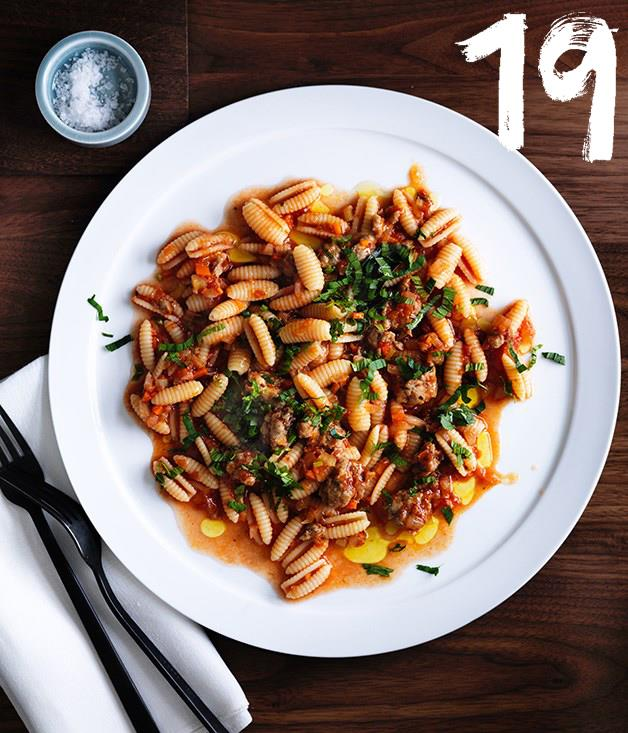 """[**Luca's gnocchetti Sardi with pork and fennel sausage ragù, anchovy and mint**](https://www.gourmettraveller.com.au/recipes/chefs-recipes/lucas-gnocchetti-sardi-with-pork-and-fennel-sausage-ragu-anchovy-and-mint-8568