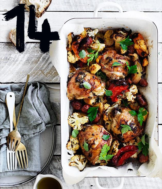"""[**Leek, chorizo, cauliflower and chicken bake**](https://www.gourmettraveller.com.au/recipes/fast-recipes/leek-chorizo-cauliflower-and-chicken-bake-13805