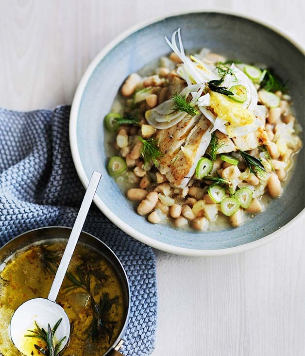 Roast mulloway with white beans, fennel and lemon recipe