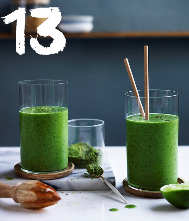 "[**Drink-your-greens smoothie**](https://www.gourmettraveller.com.au/recipes/browse-all/drink-your-greens-smoothie-12723|target=""_blank"")<br><br> Getting your five serves of fruit and vegetables a day just got a whole lot easier. Unlike a juice, this smoothie keeps all the fibre intact, and with less fruit than vegetables, it keeps sugar levels to a minimum."
