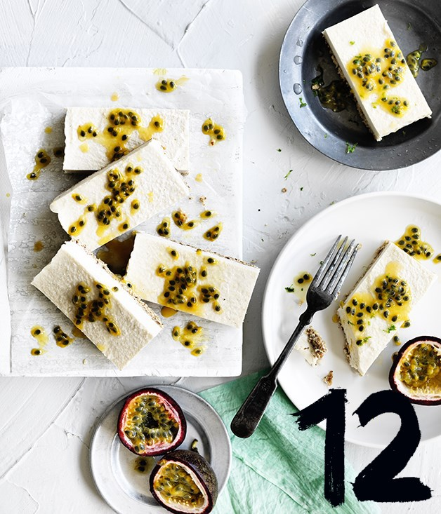 "[**Passionfruit and coconut slice**](https://www.gourmettraveller.com.au/recipes/browse-all/passionfruit-coconut-slice-12713|target=""_blank"") <br><br> This gluten-free coconut slice has a macadamia and cashew crust, matched with passionfruit for a tasty and crunchy tropical dessert."