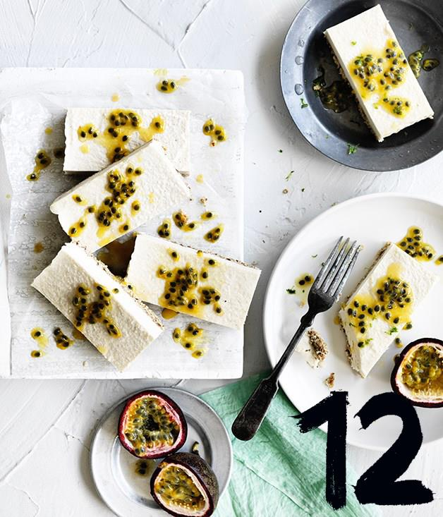 """[**Passionfruit and coconut slice**](https://www.gourmettraveller.com.au/recipes/browse-all/passionfruit-coconut-slice-12713