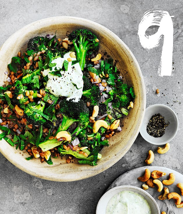 "[**Spelt, cashew and broccoli bowl with yoghurt dressing**](https://www.gourmettraveller.com.au/recipes/browse-all/spelt-cashew-and-broccoli-bowl-with-yoghurt-dressing-12721|target=""_blank"") <br><br> This nicely textured spelt, cashew and broccoli salad transports well, making it ideal for picnics or to take to barbecues. The broccoli can be kept raw and shaved on a mandolin, too."