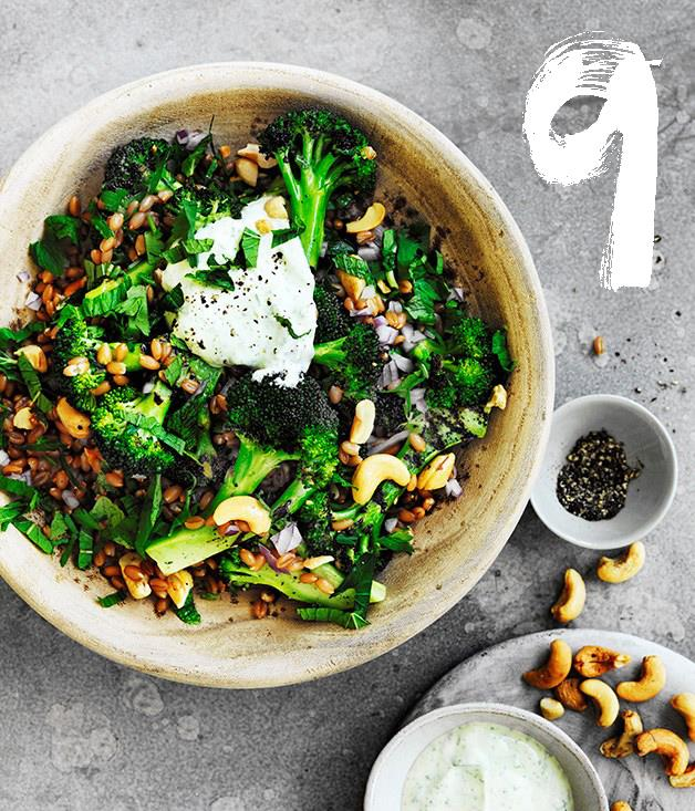 """[**Spelt, cashew and broccoli bowl with yoghurt dressing**](https://www.gourmettraveller.com.au/recipes/browse-all/spelt-cashew-and-broccoli-bowl-with-yoghurt-dressing-12721