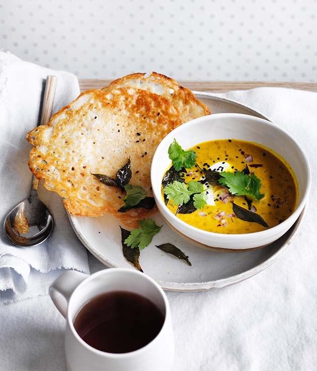 "**[Dosas with coconut lentil curry](https://www.gourmettraveller.com.au/recipes/browse-all/dosas-with-coconut-lentil-curry-12786 target=""_blank"")**"