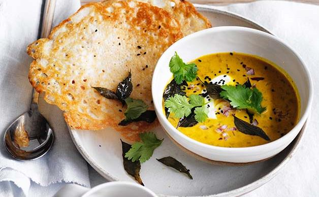 Dosas with coconut lentil curry recipe
