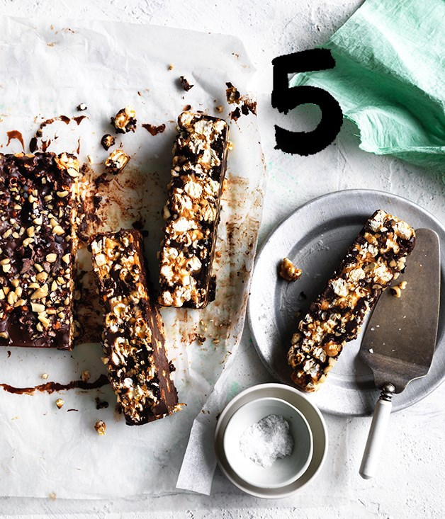 "[**Chocolate-peanut butter popcorn bars**](https://www.gourmettraveller.com.au/recipes/browse-all/chocolate-peanut-butter-popcorn-bars-12699|target=""_blank"") <br><br> Popcorn, peanut butter and bitter chocolate combine in this no-bake, salty-sweet treat that's greater than the sum of its parts. It will keep for up to a week in the fridge, but odds are that it won't last that long."