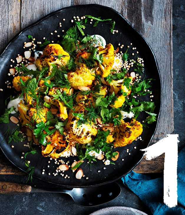 "[**Roasted cauliflower salad with yoghurt dressing and almonds**](https://www.gourmettraveller.com.au/recipes/browse-all/roasted-cauliflower-salad-with-yoghurt-dressing-and-almonds-12690|target=""_blank"") <br><br> Make this hearty salad as a vegetarian main, or a reliable side. You'll impress your guests with the deep and nutty flavour of the roasted cauliflower."