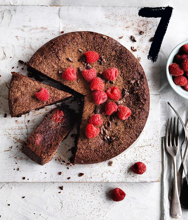 """[**Cacao hazelnut and raspberry cake**](https://www.gourmettraveller.com.au/recipes/browse-all/cacao-hazelnut-and-raspberry-cake-12724