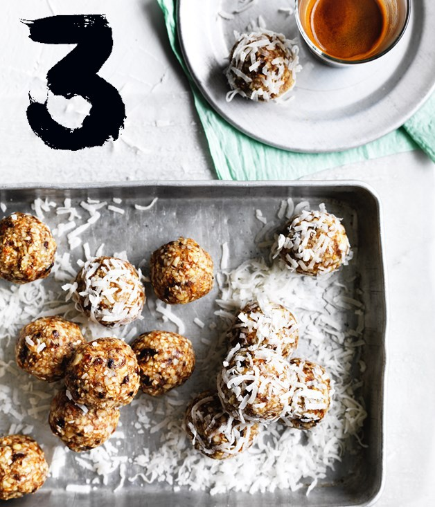 "[**Salted maple-almond balls**](https://www.gourmettraveller.com.au/recipes/browse-all/salted-maple-almond-balls-12702|target=""_blank"") <br><br> Some people might call these bliss or energy balls - we call them can't-stop-at-one delicious. These little bites of goodness, with a good whack of salt cutting through the sweetness, make the perfect lunchbox snack or after-dinner treat."