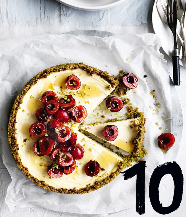 "[**Labne and pistachio cheesecake**](https://www.gourmettraveller.com.au/recipes/browse-all/labne-and-pistachio-cheesecake-12717|target=""_blank"") <br><br> The luscious silky texture of this tangy cheesecake makes it irresistible - the fact it's free of gluten and refined sugar is a bonus. We've topped ours with cherries, but berries would also work well."