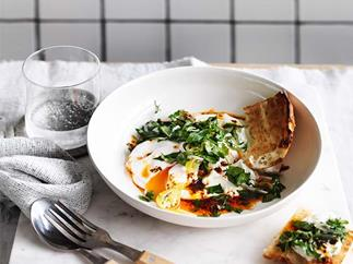 Poached eggs with yoghurt and Aleppo-pepper butter recipe