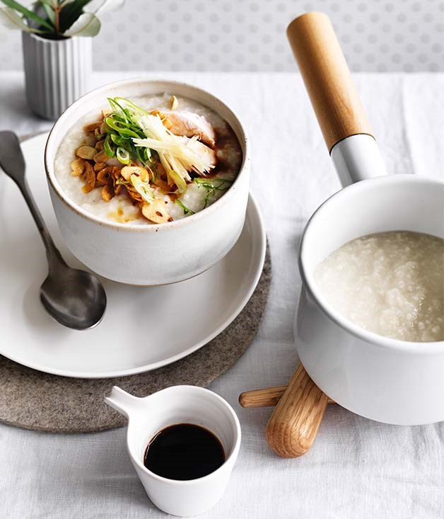 "[Chicken and ginger congee](https://www.gourmettraveller.com.au/recipes/browse-all/chicken-and-ginger-congee-12803|target=""_blank"")"