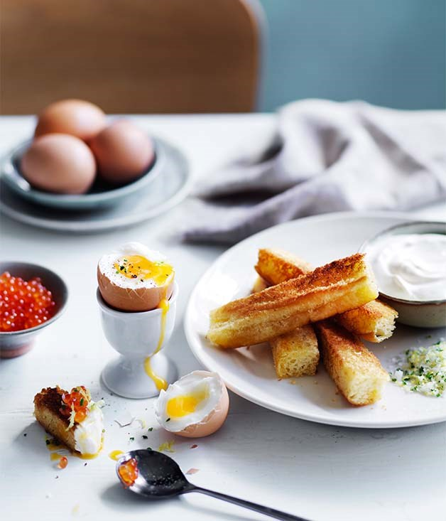 "[Double eggs and soldiers](http://www.gourmettraveller.com.au/recipes/browse-all/double-eggs-and-soldiers-12809|target=""_blank"")"